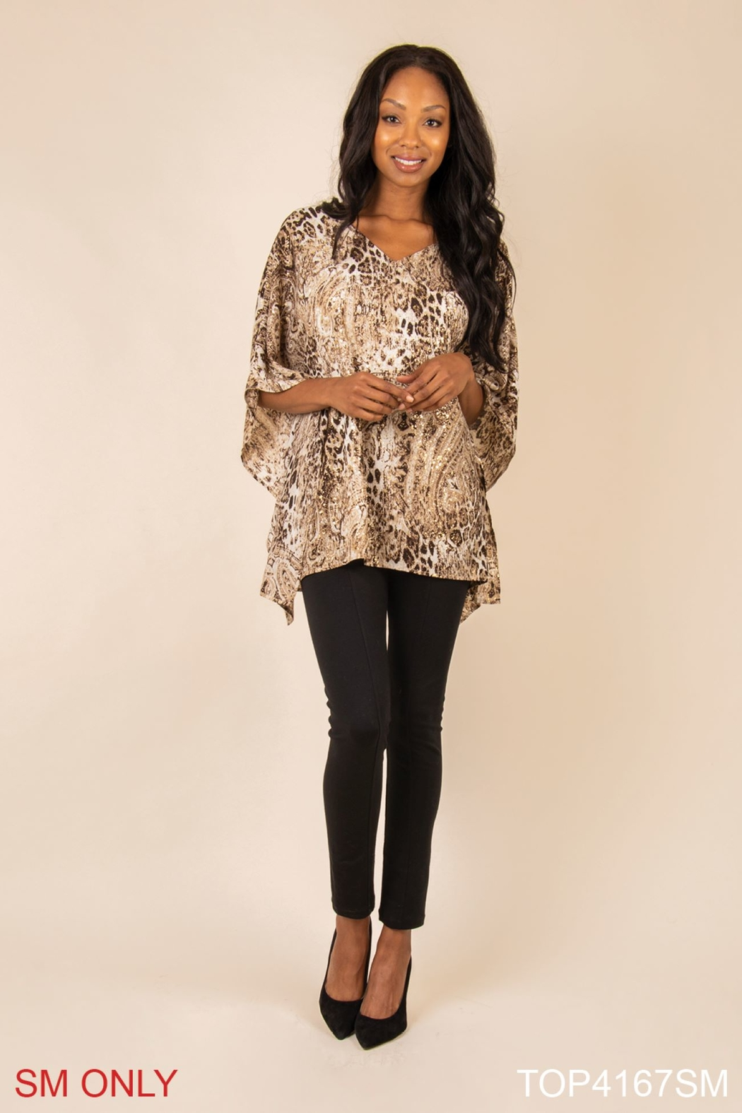 Simply Noelle Gold Poncho Top - Main Image