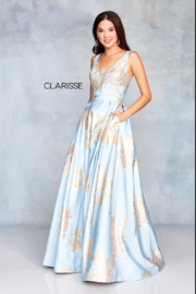 CLARISSE Gold Print Gown - Product Mini Image
