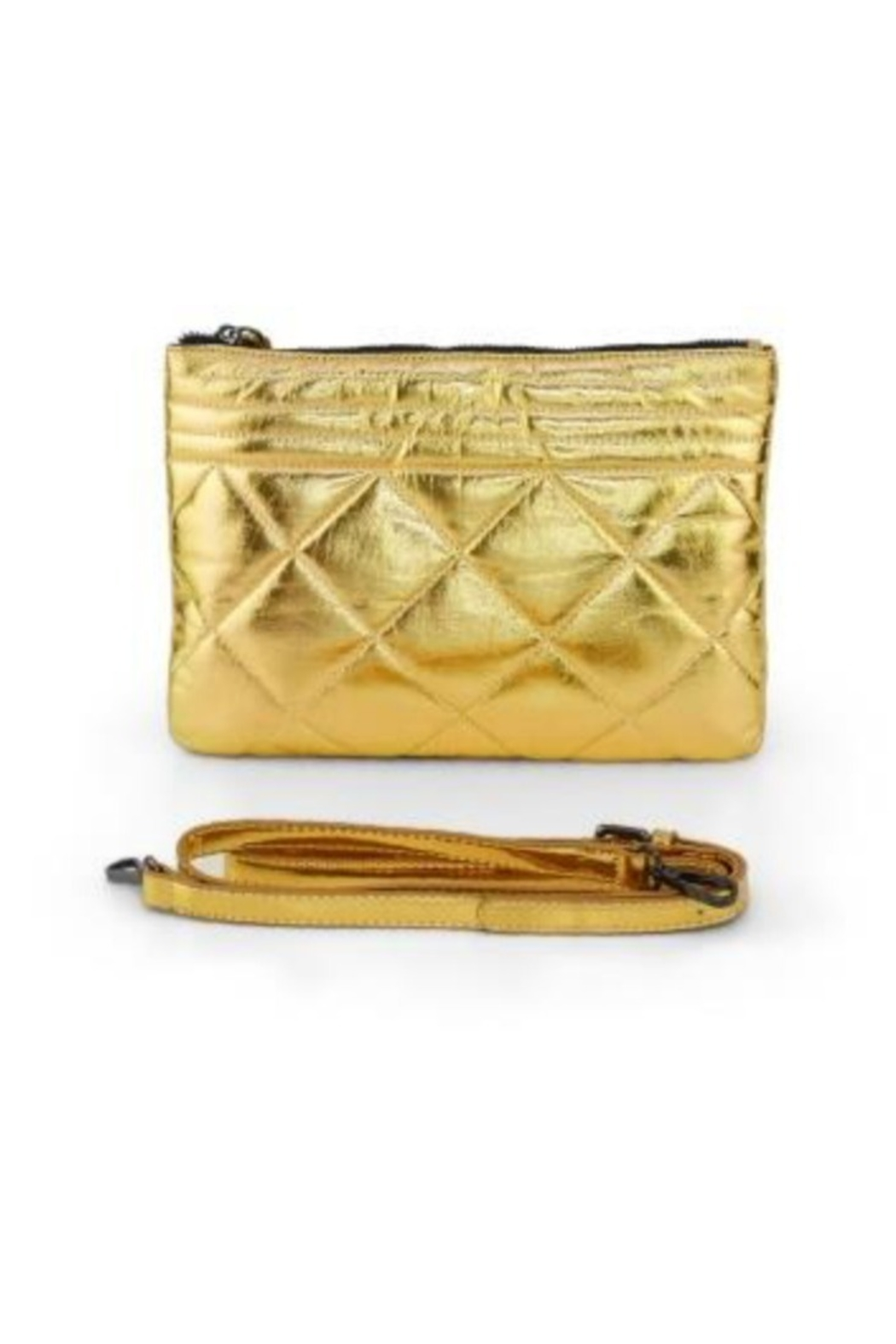 Allie & Chica Gold Puffy Clutch - Main Image