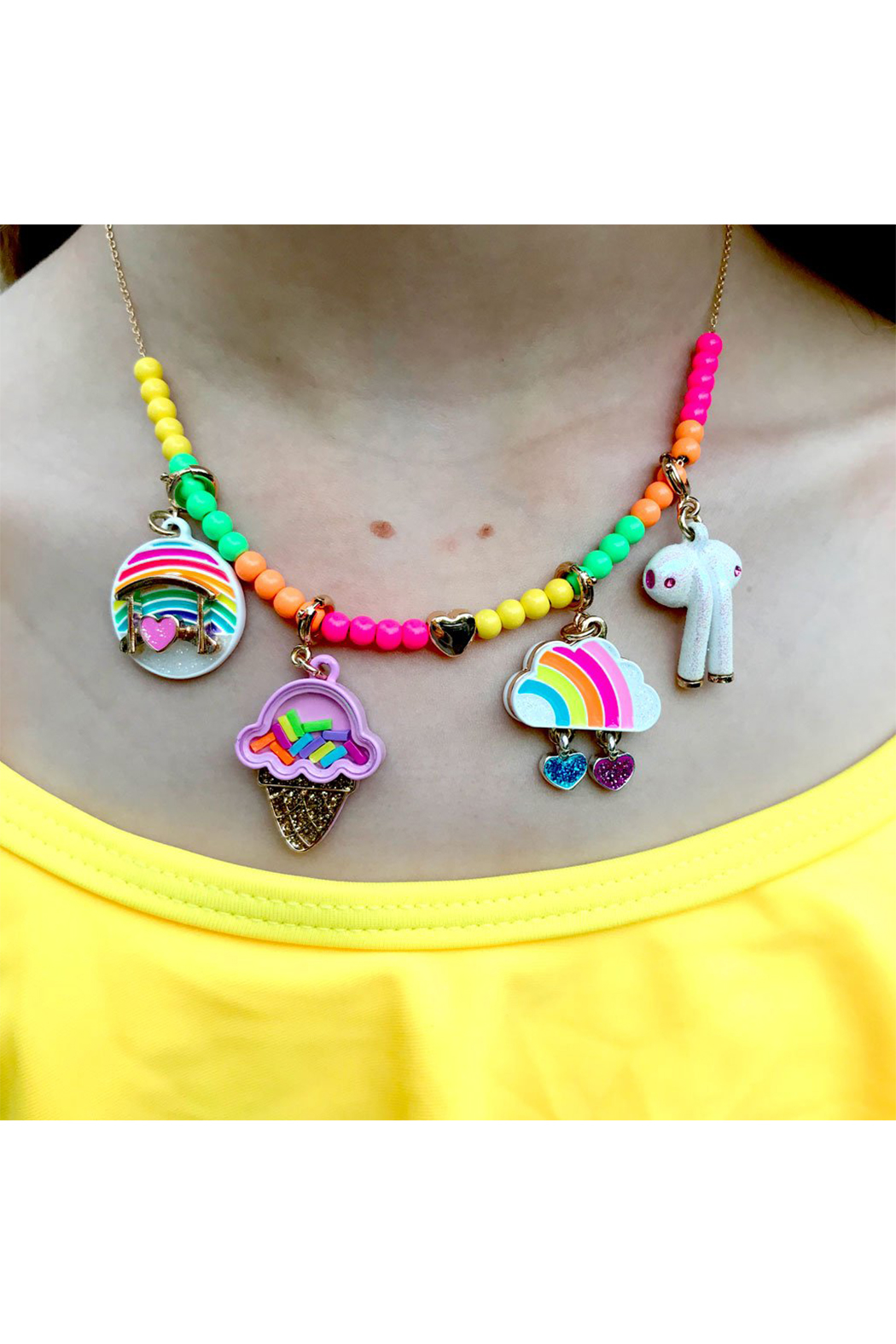 Charm It Gold Rainbow Cloud Charm - Front Full Image