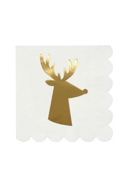 Meri Meri Gold Reindeer Small Napkins - Product Mini Image
