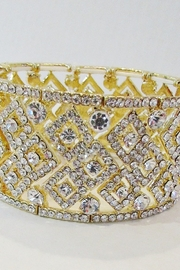 KIMBALS GOLD RHINESTONE STRETCH BRACELET - Front cropped