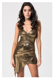 Kikiriki Gold Ruching Dress - Product Mini Image