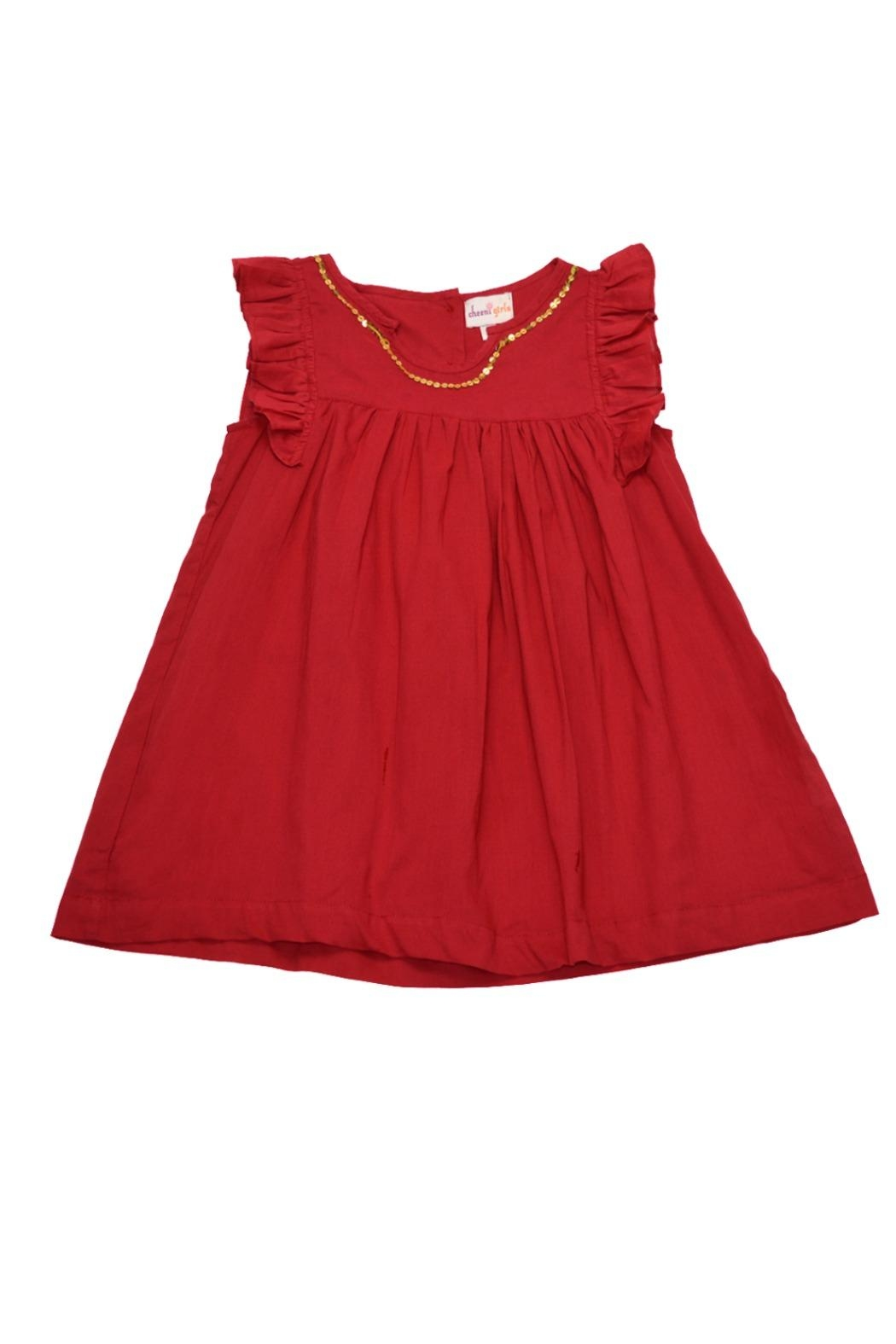 Cheeni Baby Gold-Sequin-Accented Red Dress - Main Image