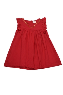 Cheeni Baby Gold-Sequin-Accented Red Dress - Product List Image