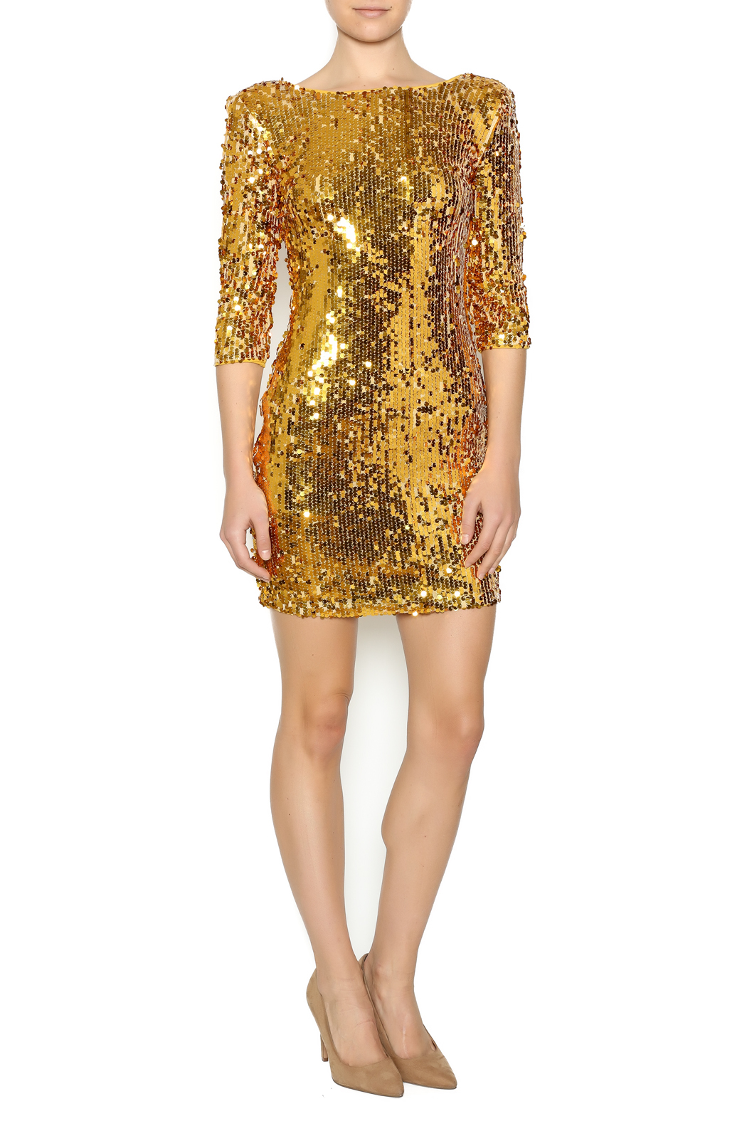 Gold Sequin Dress - Front Full Image