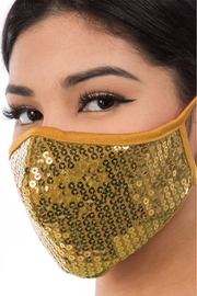 R+D  Gold Sequin Face Mask - Product Mini Image