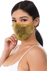 R+D  Gold Sequin Face Mask - Front full body