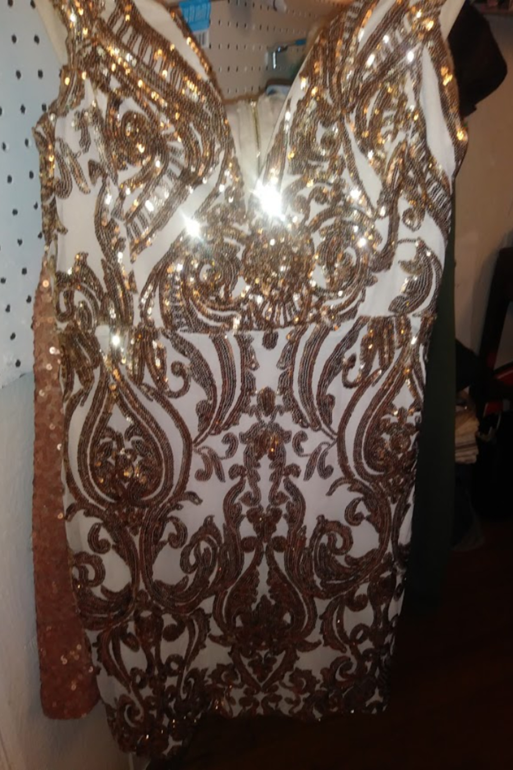 Trac Gold Sequin Lace Dress Size Small - Main Image