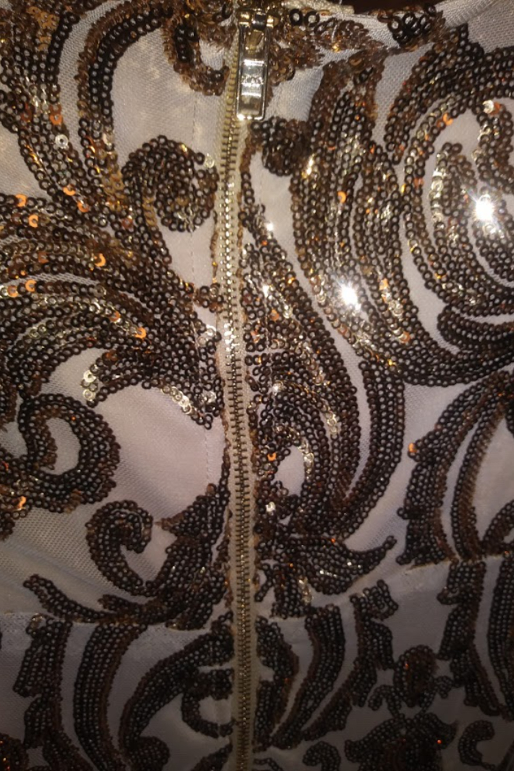 Trac Gold Sequin Lace Dress Size Small - Side Cropped Image