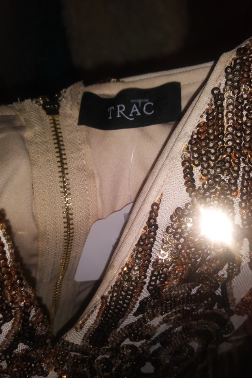 Trac Gold Sequin Lace Dress Size Small - Front Full Image