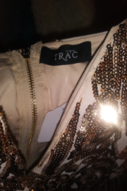 Trac Gold Sequin Lace Dress Size Small - Front full body