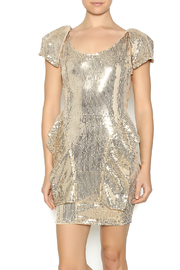 Gold Sequin Peplum Dress - Front cropped