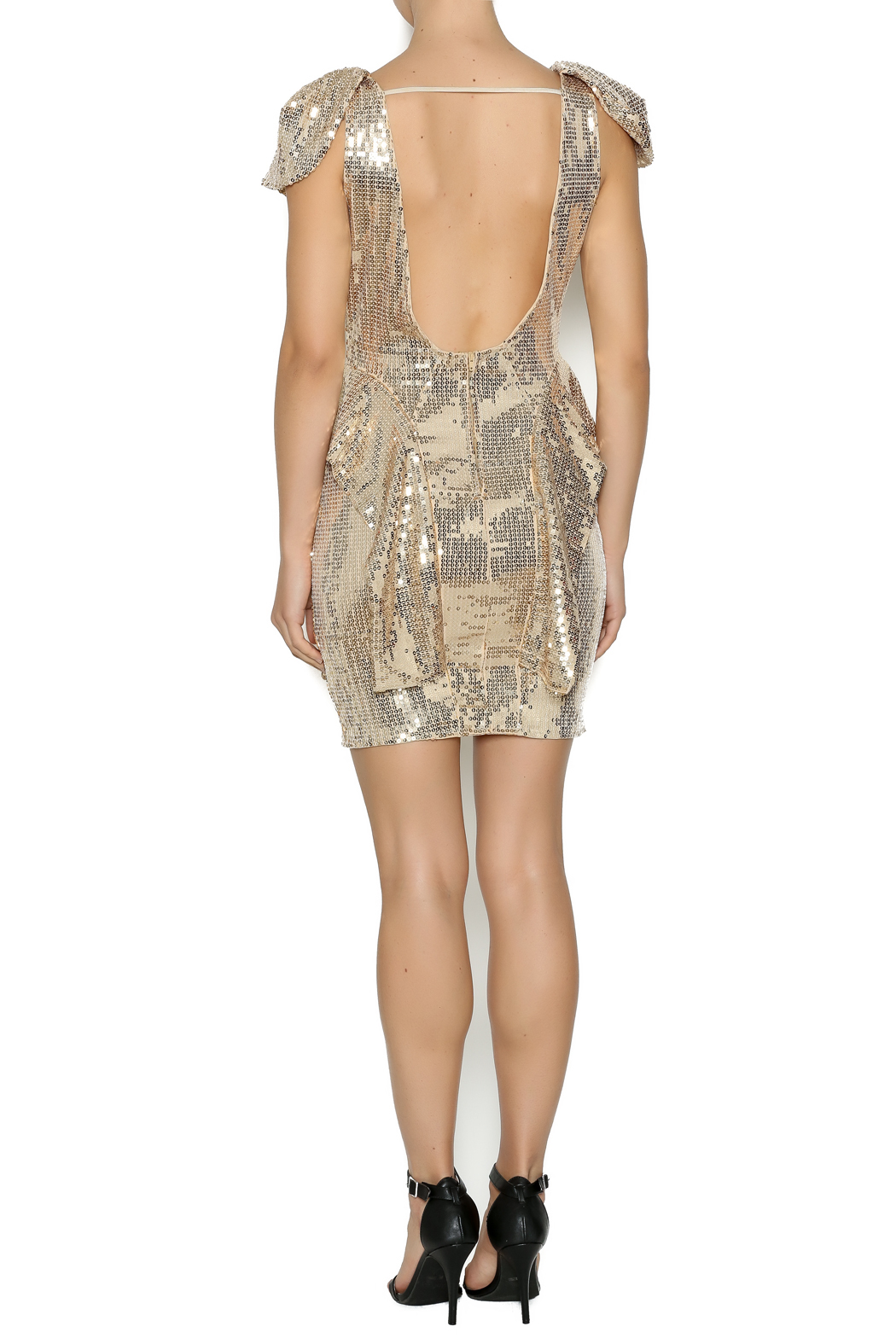 Gold Sequin Peplum Dress - Side Cropped Image