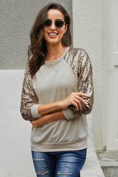 Love Valentine Boutique Gold Sequin Top - Product List Image