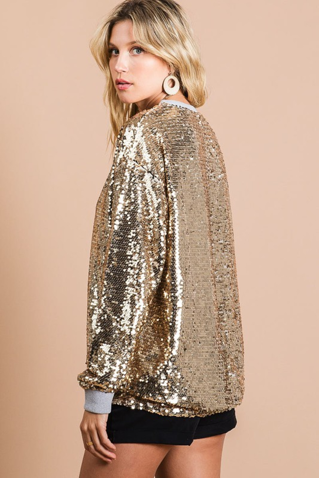 Bibi Gold Sequin Top - Side Cropped Image