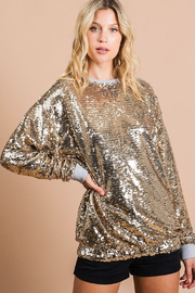 Bibi Gold Sequin Top - Back cropped