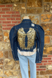 Soulstice Sky Gold Sequin Wings Denim Jacket w Puff Sleeve - Front cropped