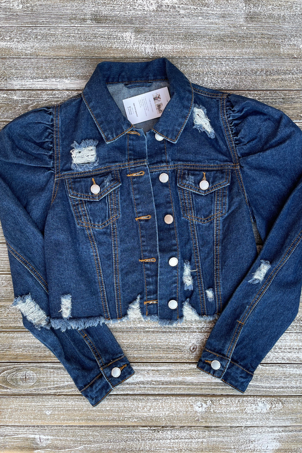 Soulstice Sky Gold Sequin Wings Denim Jacket w Puff Sleeve - Back Cropped Image