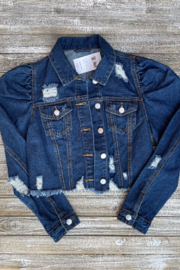 Soulstice Sky Gold Sequin Wings Denim Jacket w Puff Sleeve - Back cropped
