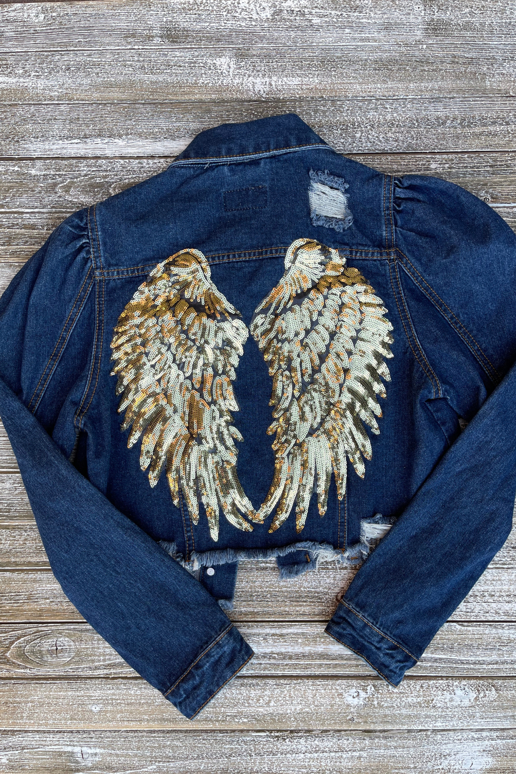 Soulstice Sky Gold Sequin Wings Denim Jacket w Puff Sleeve - Side Cropped Image