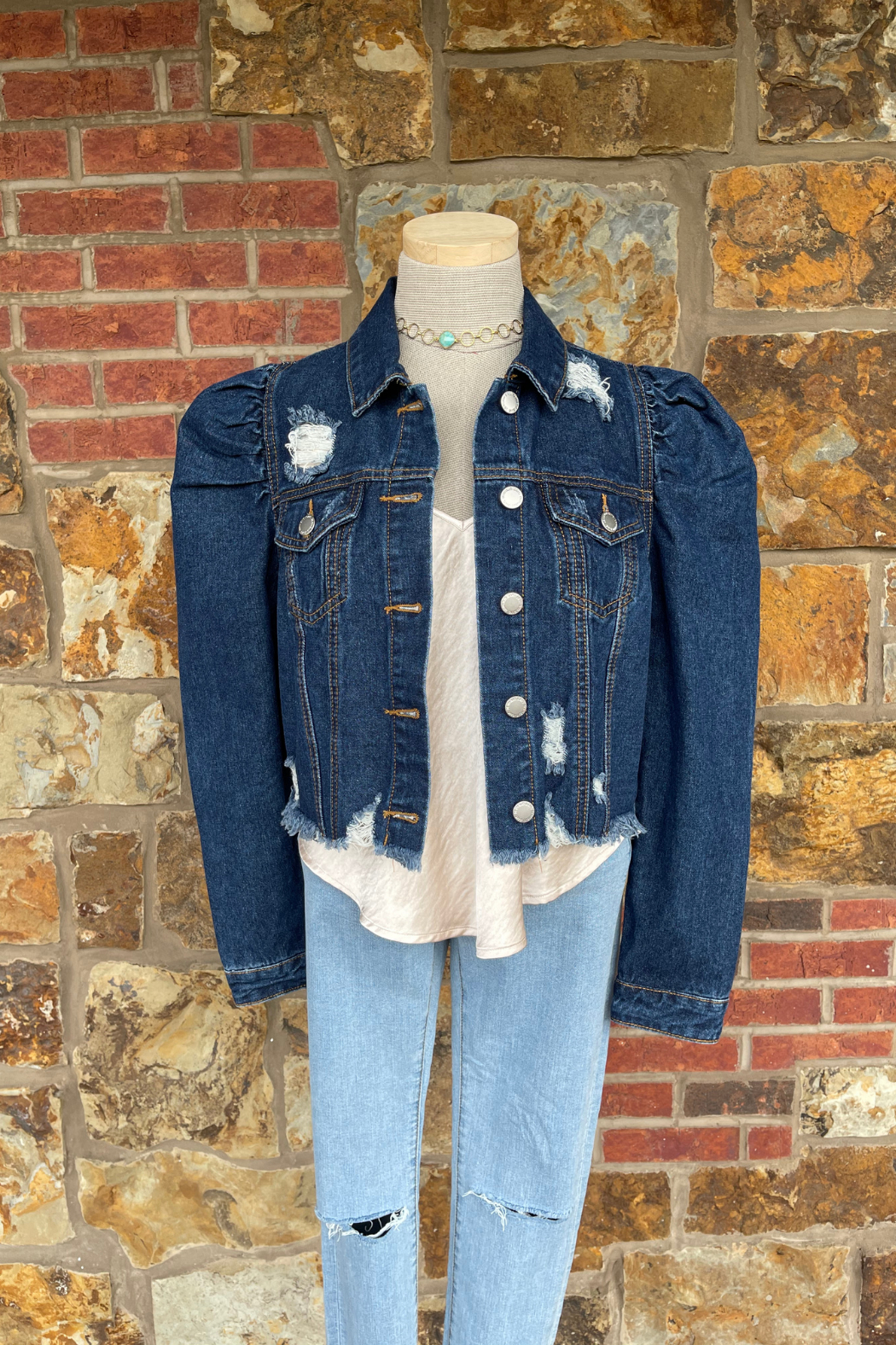 Soulstice Sky Gold Sequin Wings Denim Jacket w Puff Sleeve - Front Full Image