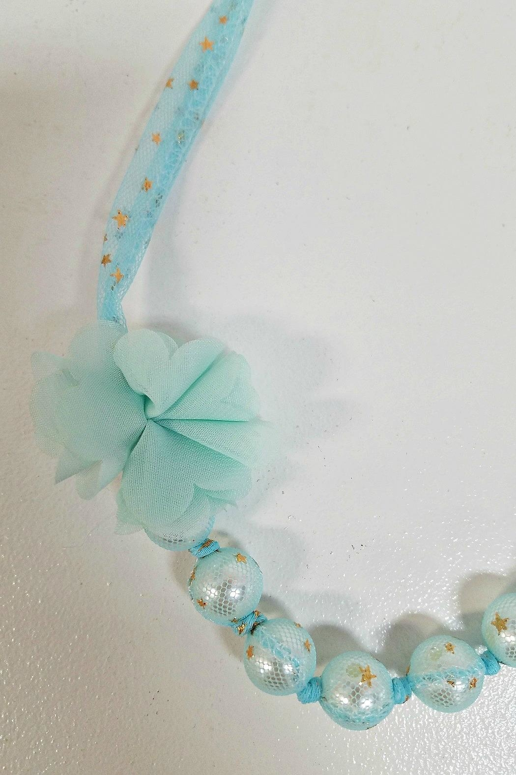 MAE LI ROSE Gold-Star-Aqua-Tulle Pearl Necklace - Front Full Image