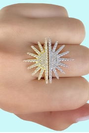 Jaimie Nicole Gold-Starburst Half Ring - Front full body