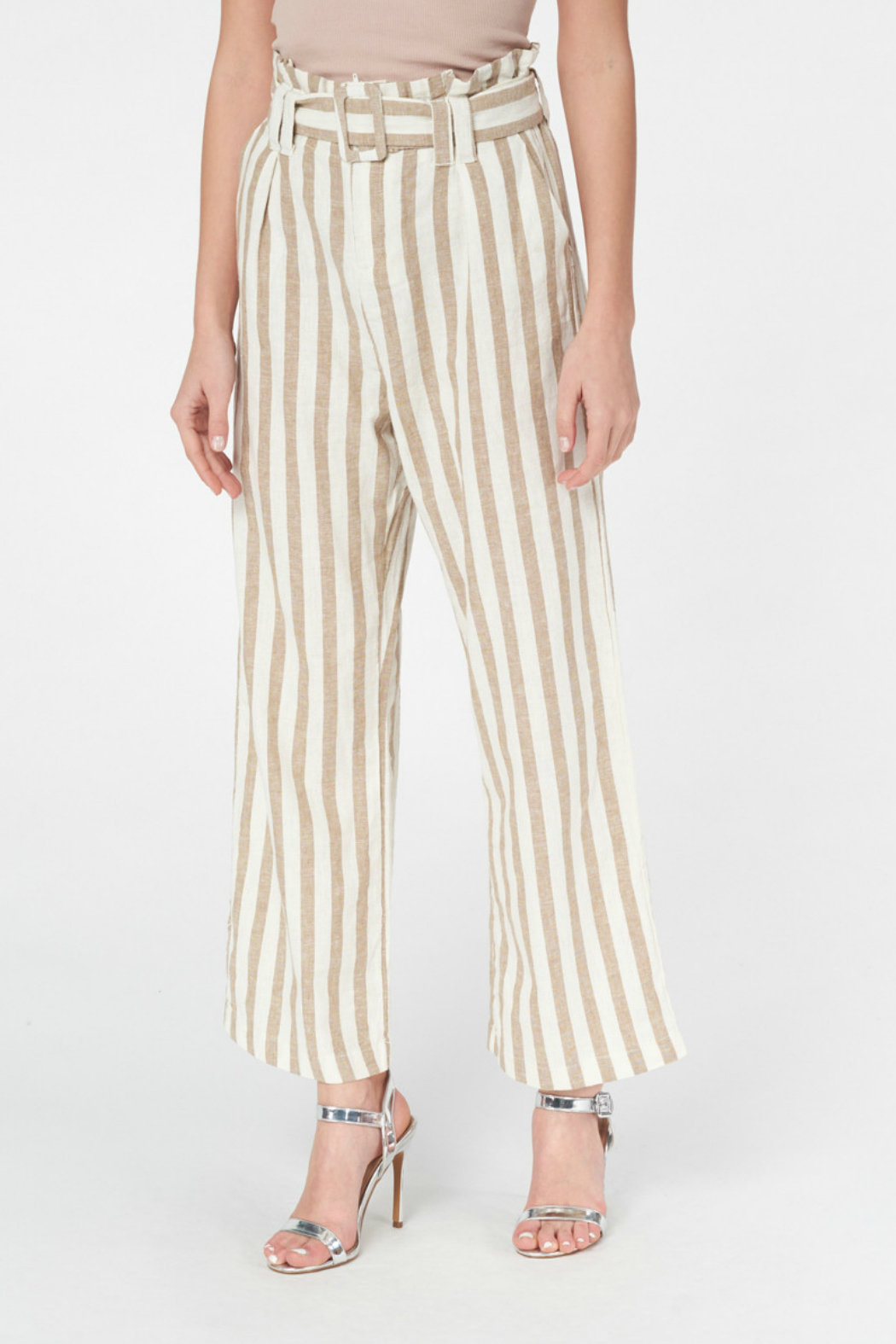 Best Mountain Gold Striped Paper bag Pant - Main Image