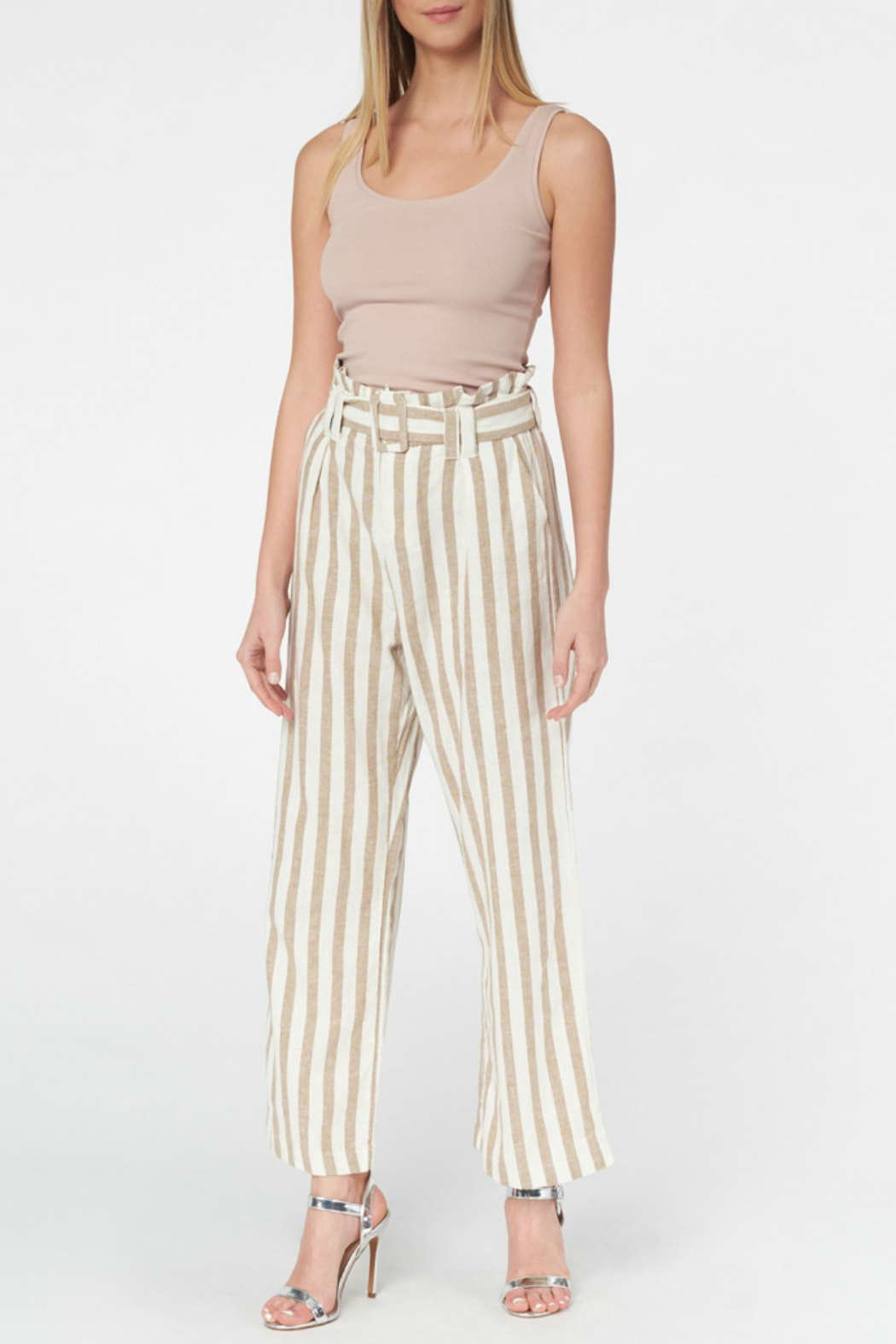 Best Mountain Gold Striped Paper bag Pant - Side Cropped Image