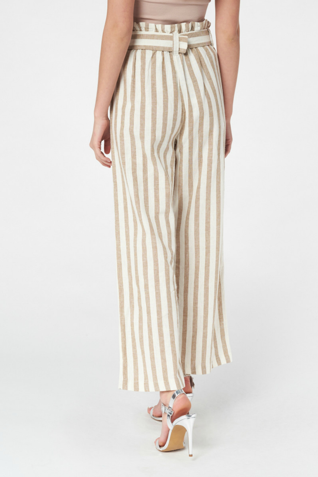 Best Mountain Gold Striped Paper bag Pant - Front Full Image