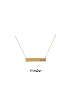 Back in Love Gold toned Fearless Bar Necklace - Alternate List Image