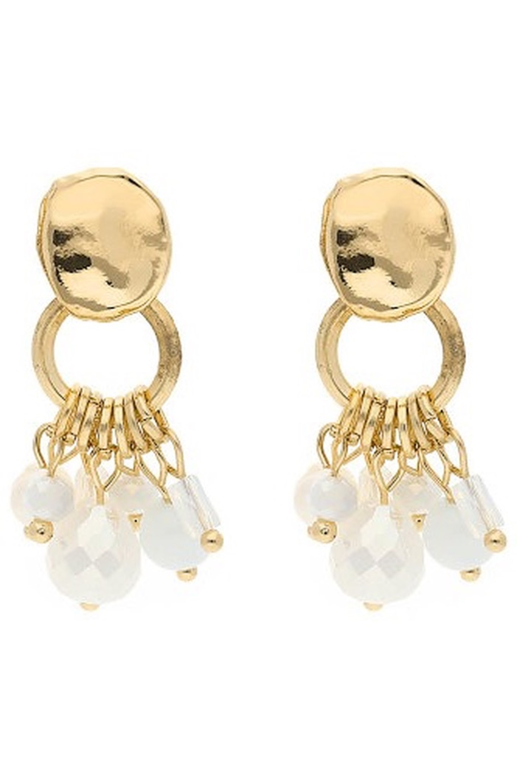 Liza's Jewelry  Gold White Dangle Bead Earrings - Main Image