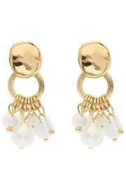 Liza's Jewelry  Gold White Dangle Bead Earrings - Front cropped