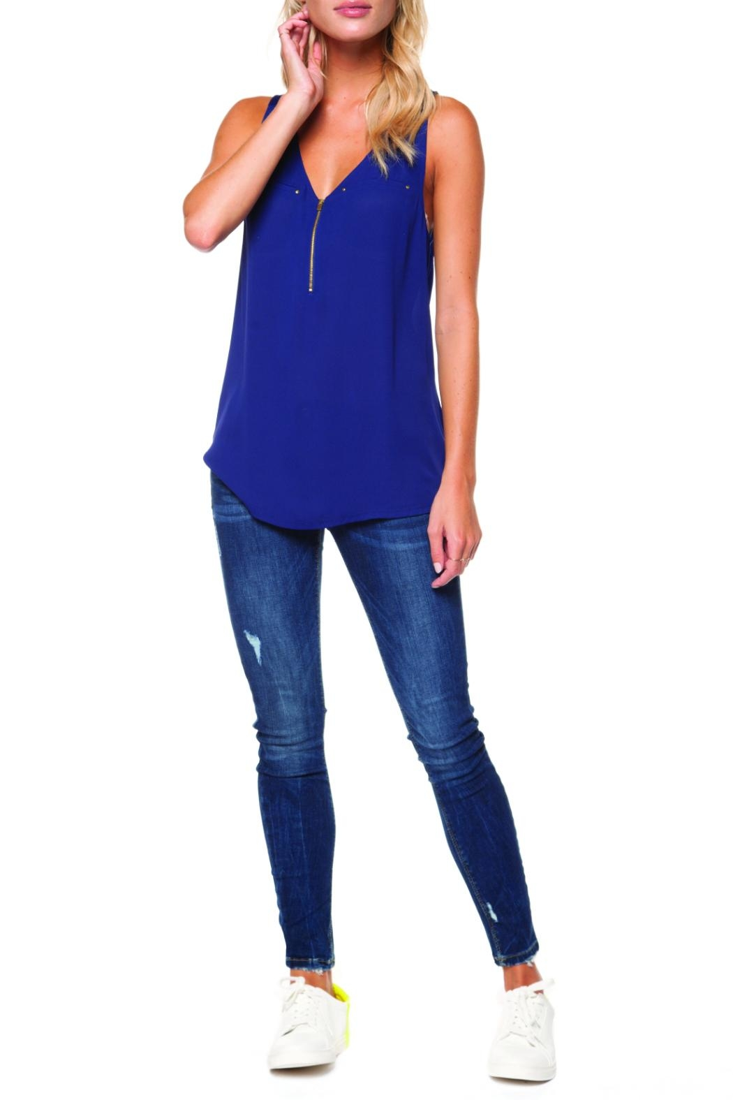 Dex Gold Zipper Tank - Front Cropped Image