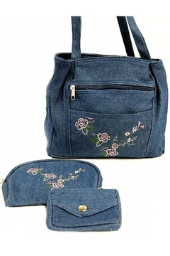 Gold Coast Embroidered Denim Bag-Set - Product List Image