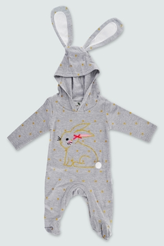 T & Tim Golden Bouncy Bunny Romper in Gray - Product List Image