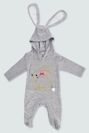 T & Tim Golden Bouncy Bunny Romper in Gray - Front cropped