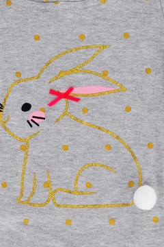 T & Tim Golden Bouncy Bunny Romper in Gray - Alternate List Image
