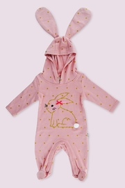 T & Tim Golden Bouncy Bunny Romper in Pink - Front cropped