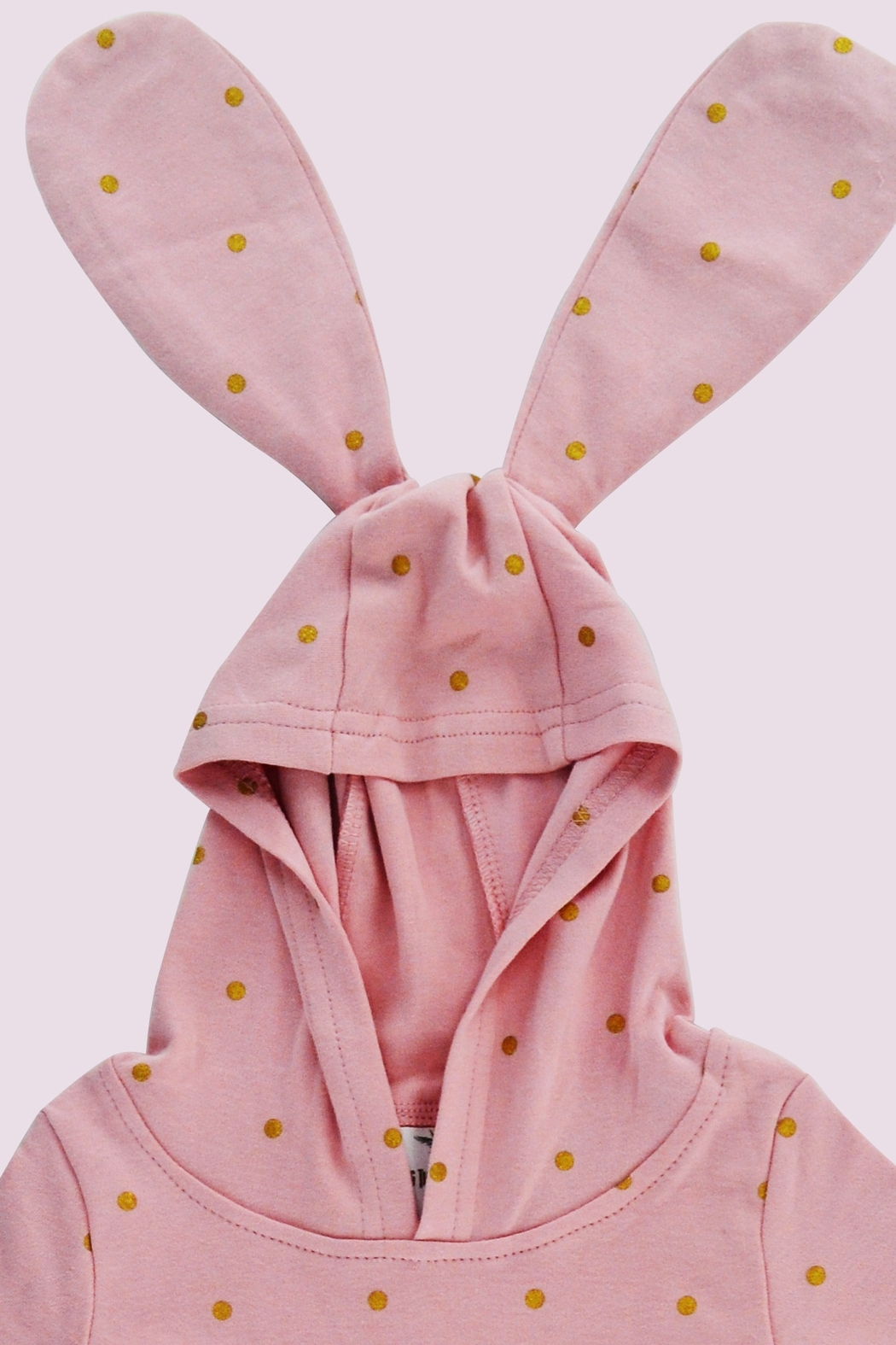T & Tim Golden Bouncy Bunny Romper in Pink - Back Cropped Image