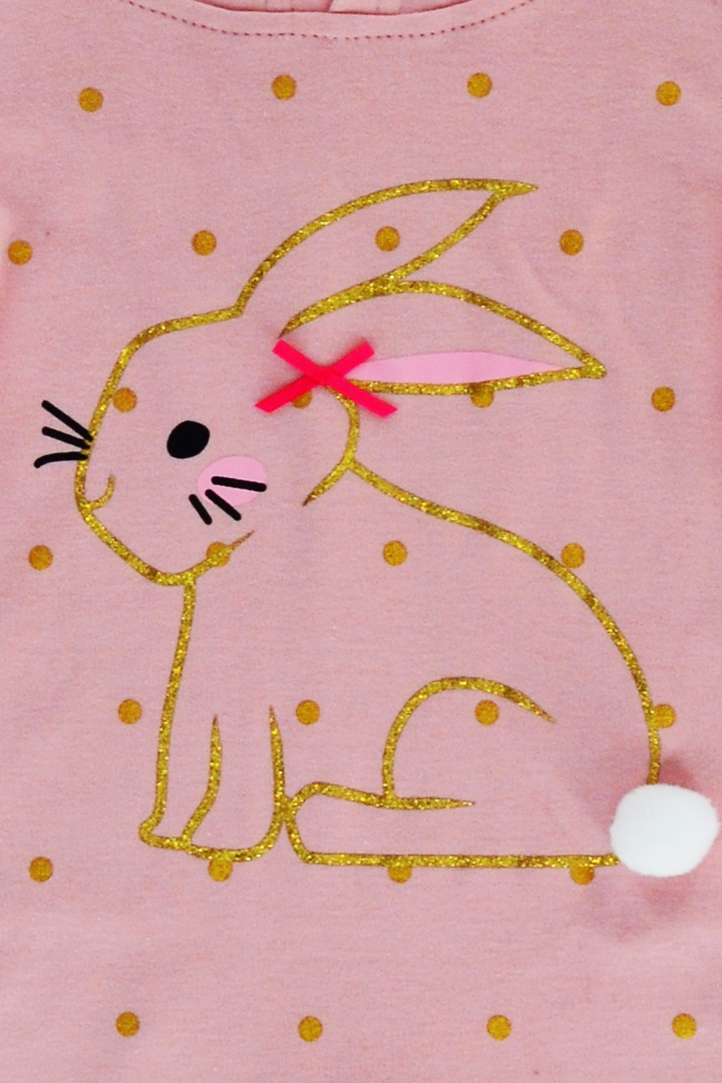 T & Tim Golden Bouncy Bunny Romper in Pink - Side Cropped Image