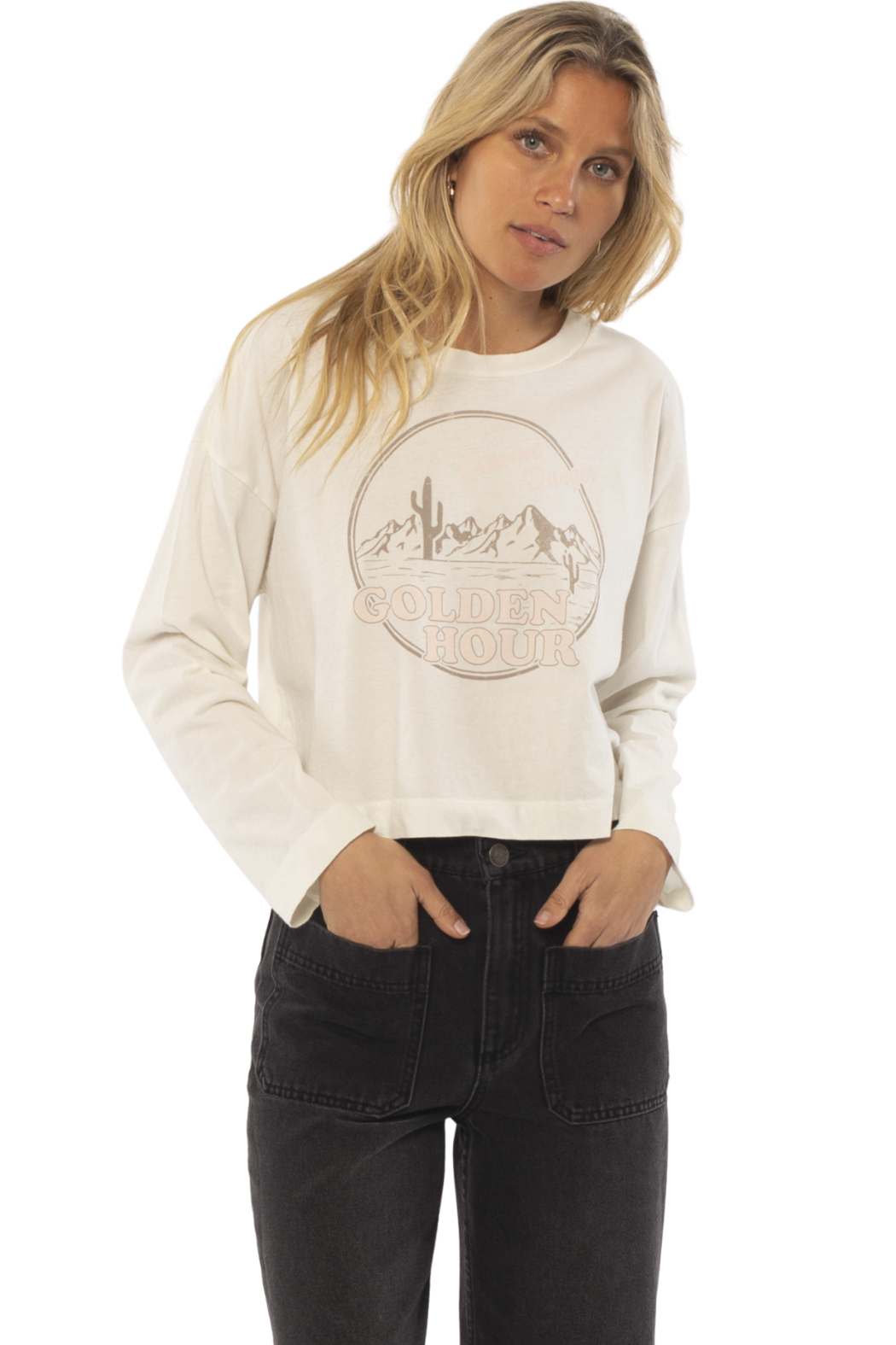 AMUSE SOCIETY Golden Hour Long Sleeve Tee - Front Cropped Image
