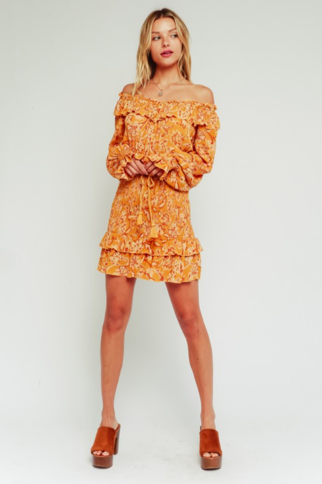 Olivaceous  Golden Paisley Mini Skirt - Back Cropped Image