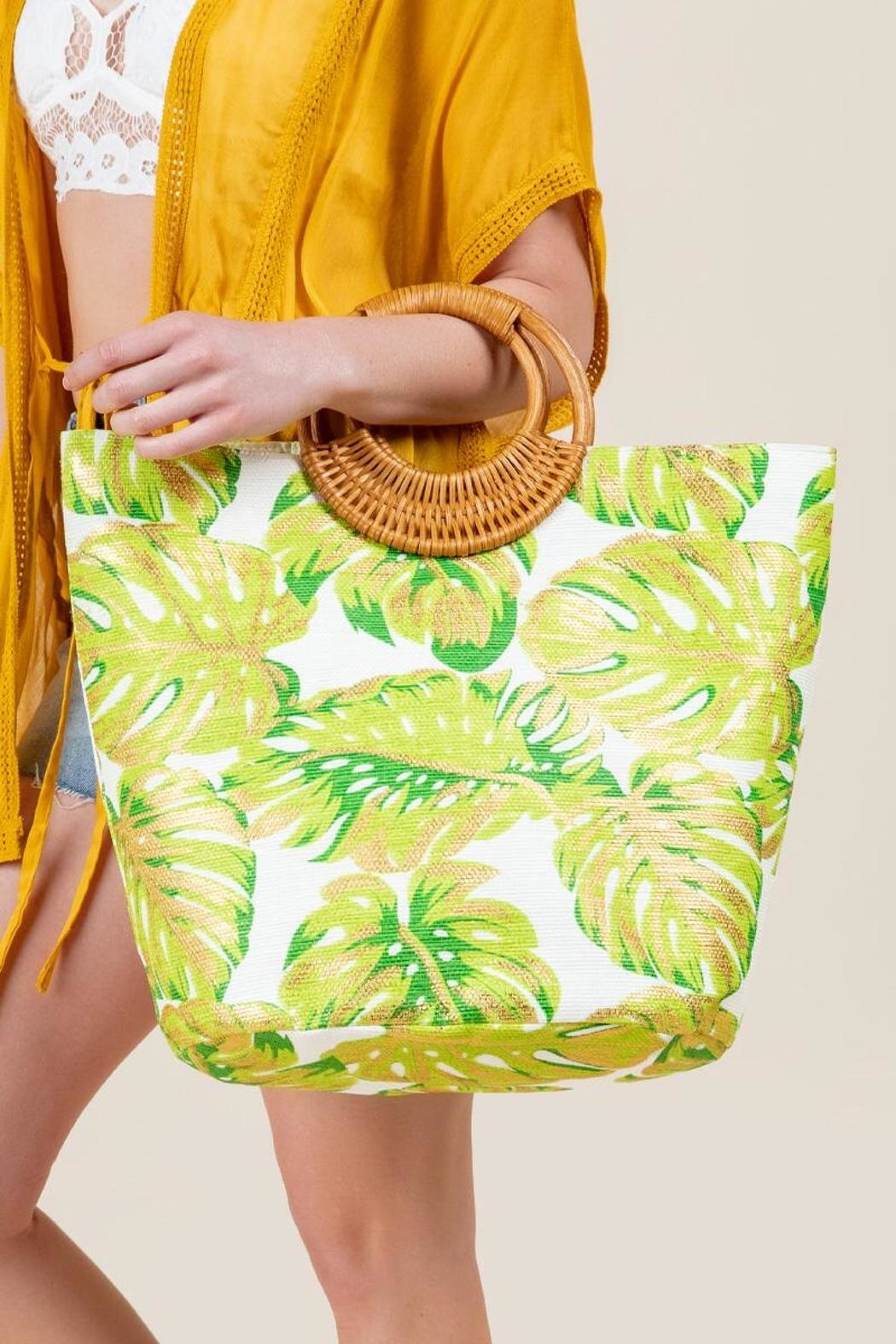 Shiraleah Golden Palms Tote - Back Cropped Image