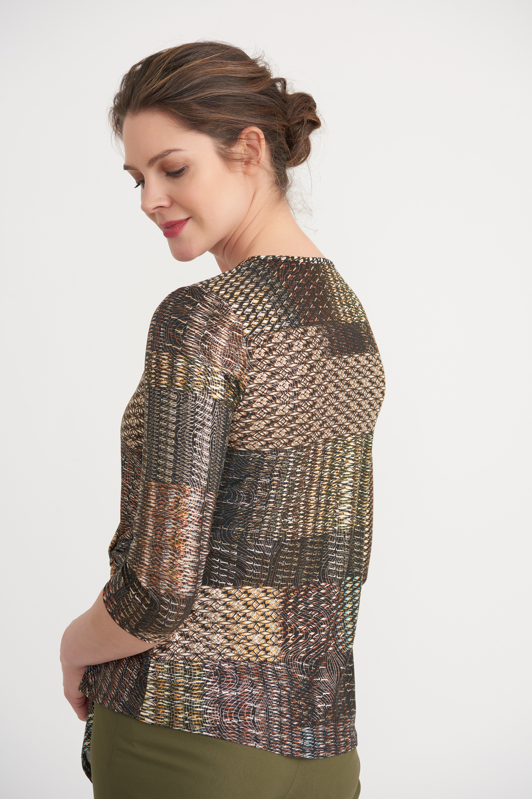Joseph Ribkoff  Golden Pattern Knot Front Top - Front Full Image