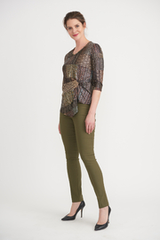 Joseph Ribkoff  Golden Pattern Knot Front Top - Back cropped
