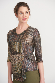 Joseph Ribkoff  Golden Pattern Knot Front Top - Front cropped