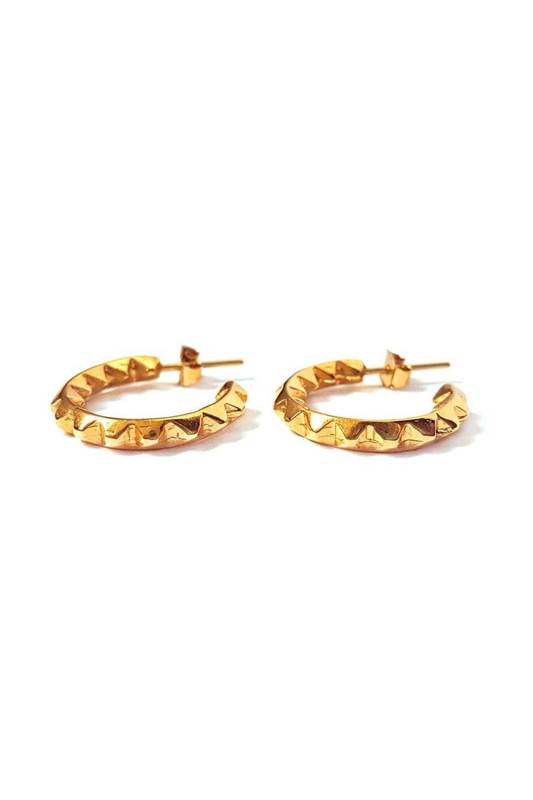 Malia Jewelry Golden Spikes Hoops - Front Full Image