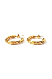 Malia Jewelry Golden Spikes Hoops - Front full body